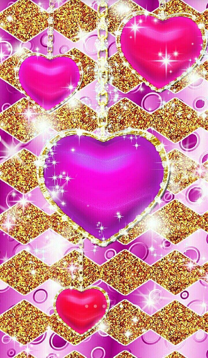 Glitter Pink Hearts Wallpapers Desktop Wallpaper