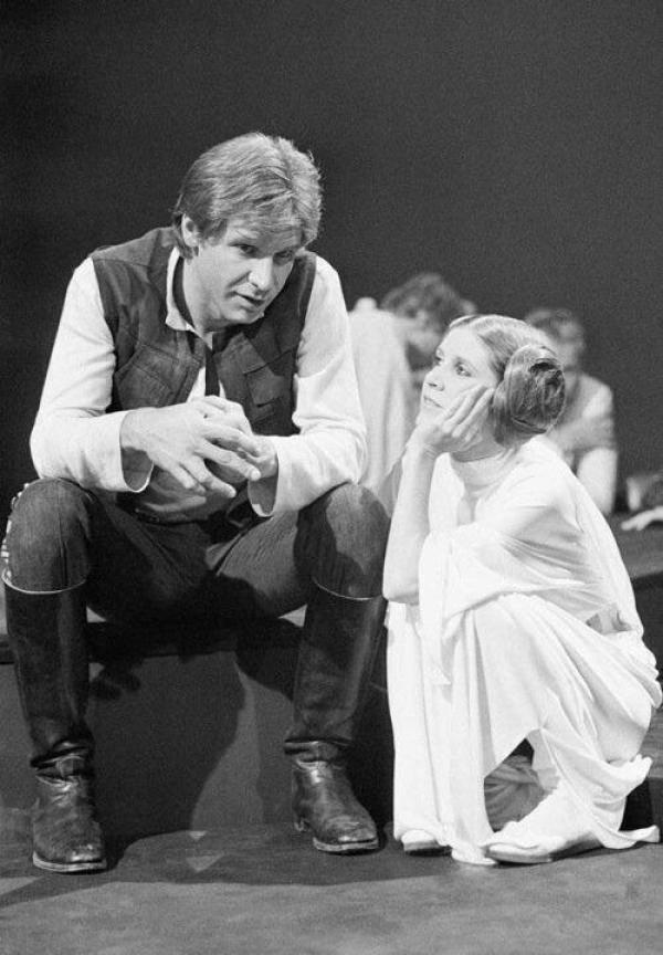 STAR WARS Set Photo Showing Princess Leia and Han Solo