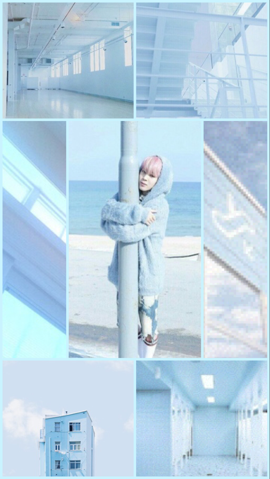 Hey I made a pastel blue aesthetic Jimin wallpaper Hope
