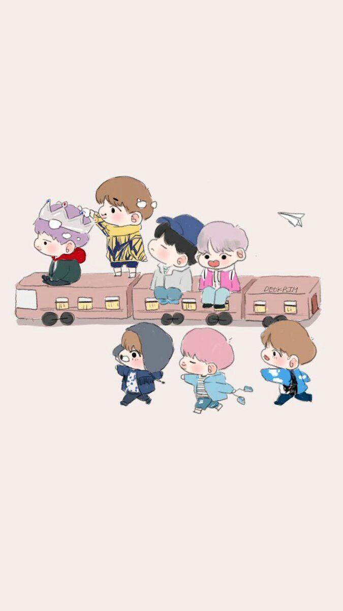 BTS Cartoon Wallpapers Wallpaper Cave