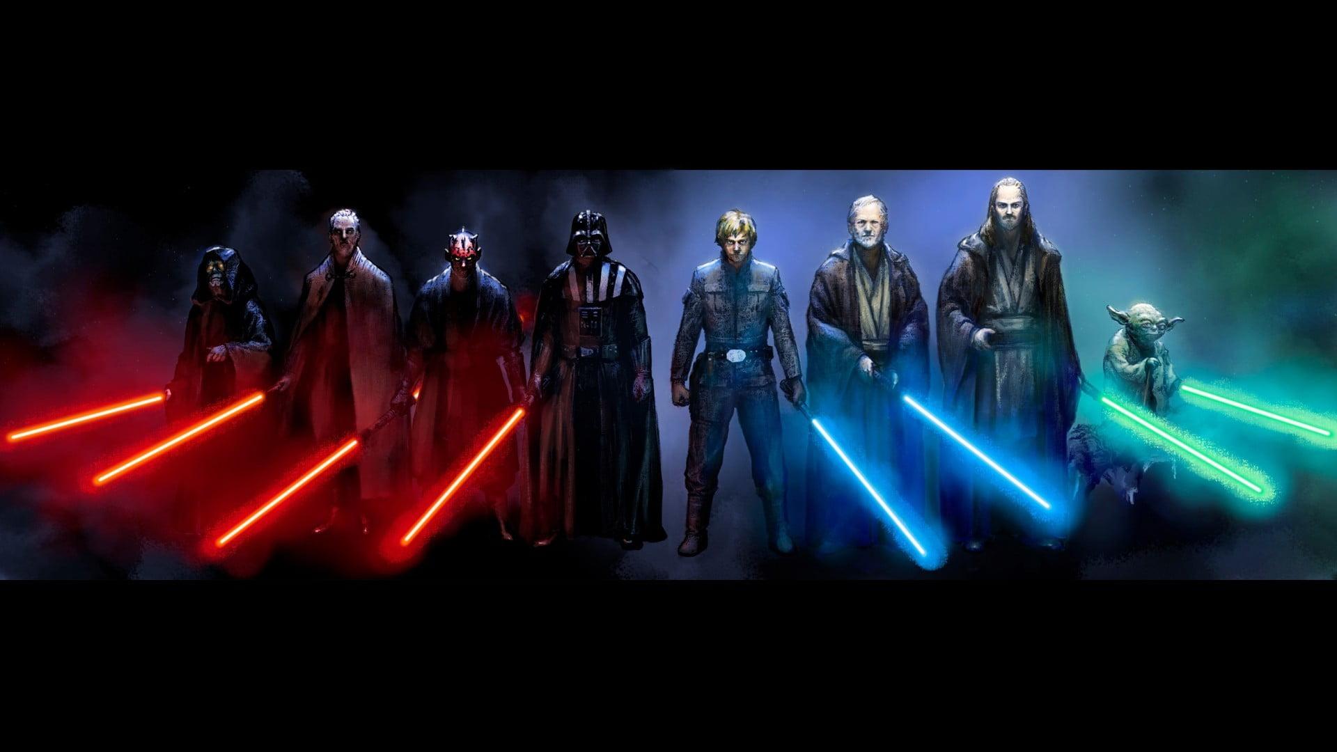 Wallpaper Star Wars lightsaber Yoda darkness 1920x1200