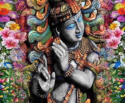 Buy Kayra Decor Lord Krishna 3D Wallpaper Print Decal Deco