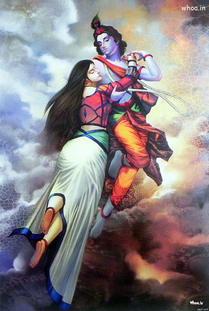 The HD Image Of Lord Krishna And Radha In The Bramhand