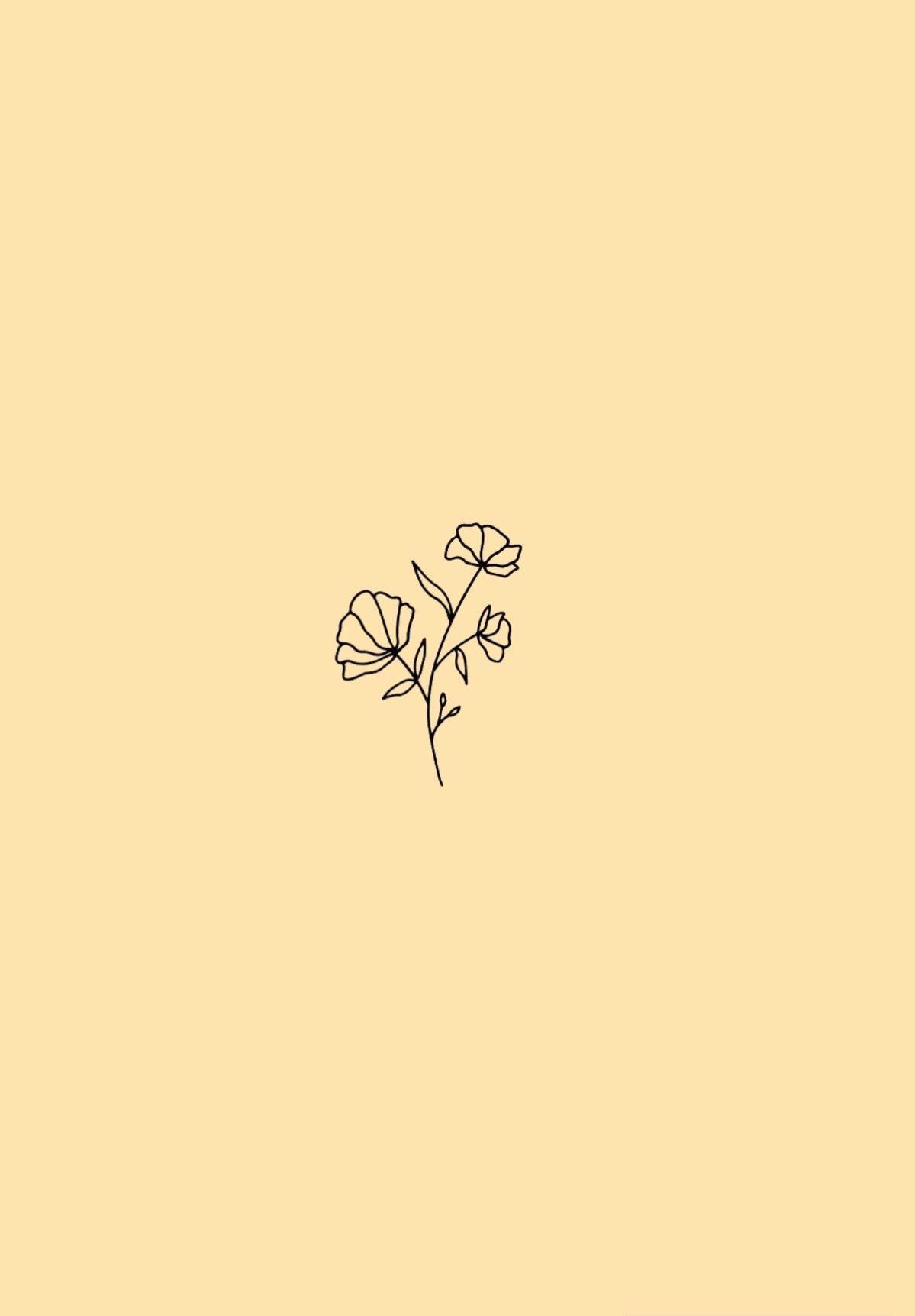 minimalist flower wallpaper pastel yellow background in