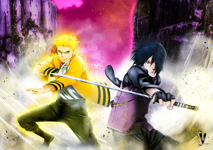 HD wallpaper Uzumaki Naruto and Uchiha Sasuke wallpaper