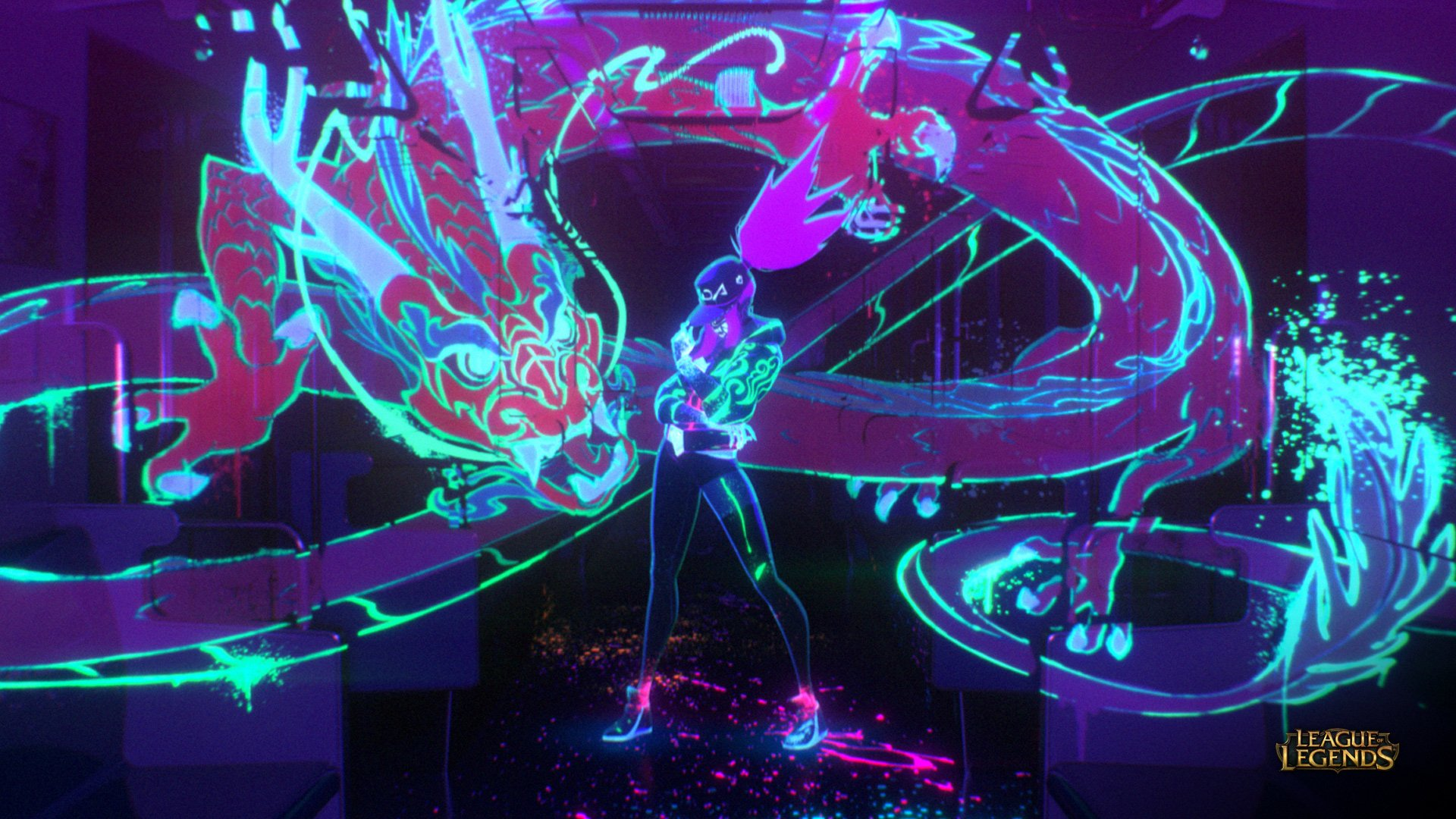 Neon KDA Akali MV HD Wallpaper Background Image
