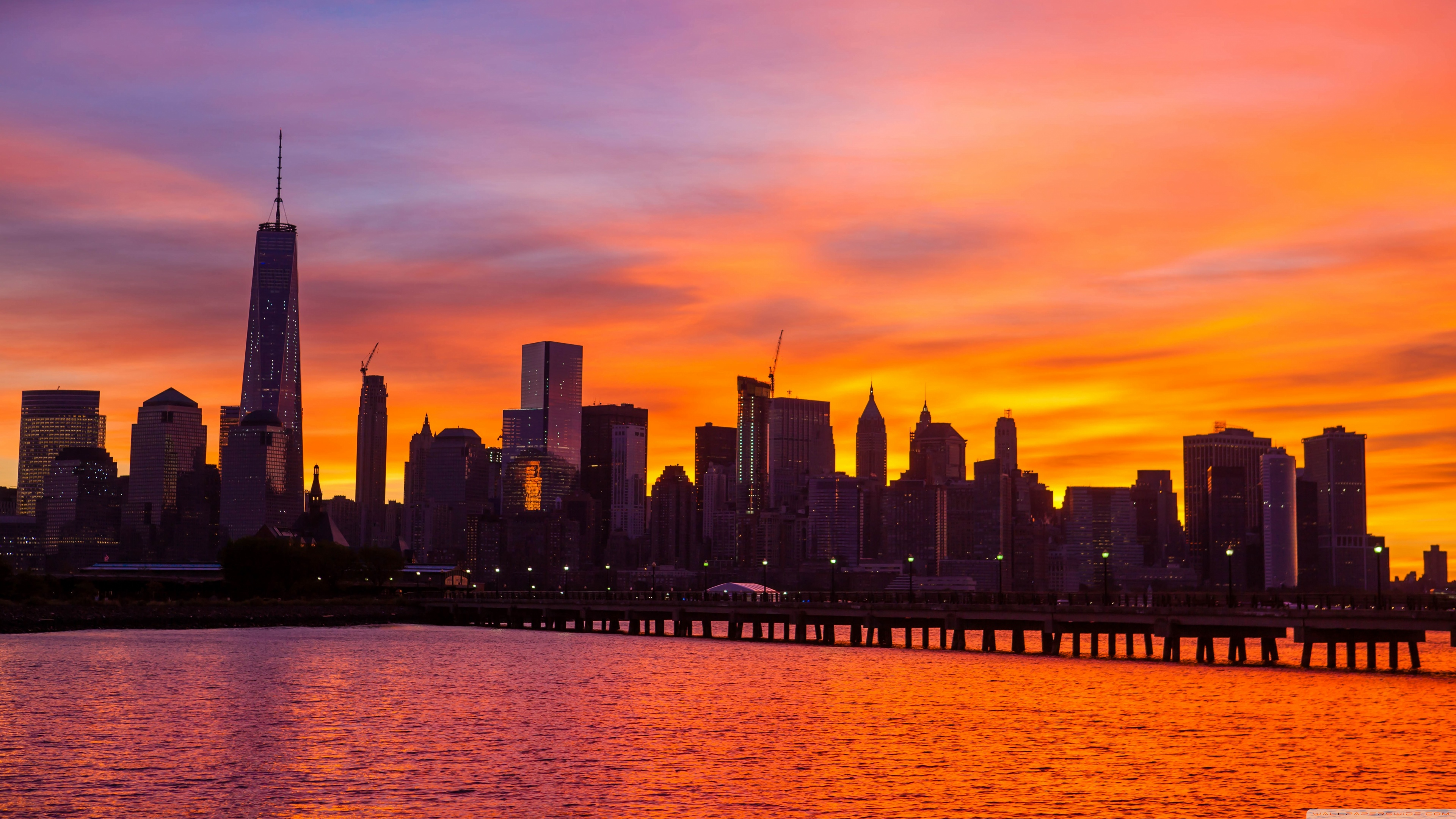 4k Cities Skyline Wallpaper New York City Skyline Sunrise