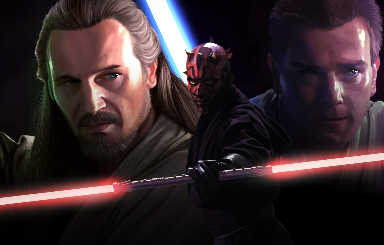 Wallpaper Obi Wan Kenobi, Movie, Qui Gon Jinn, Star wars