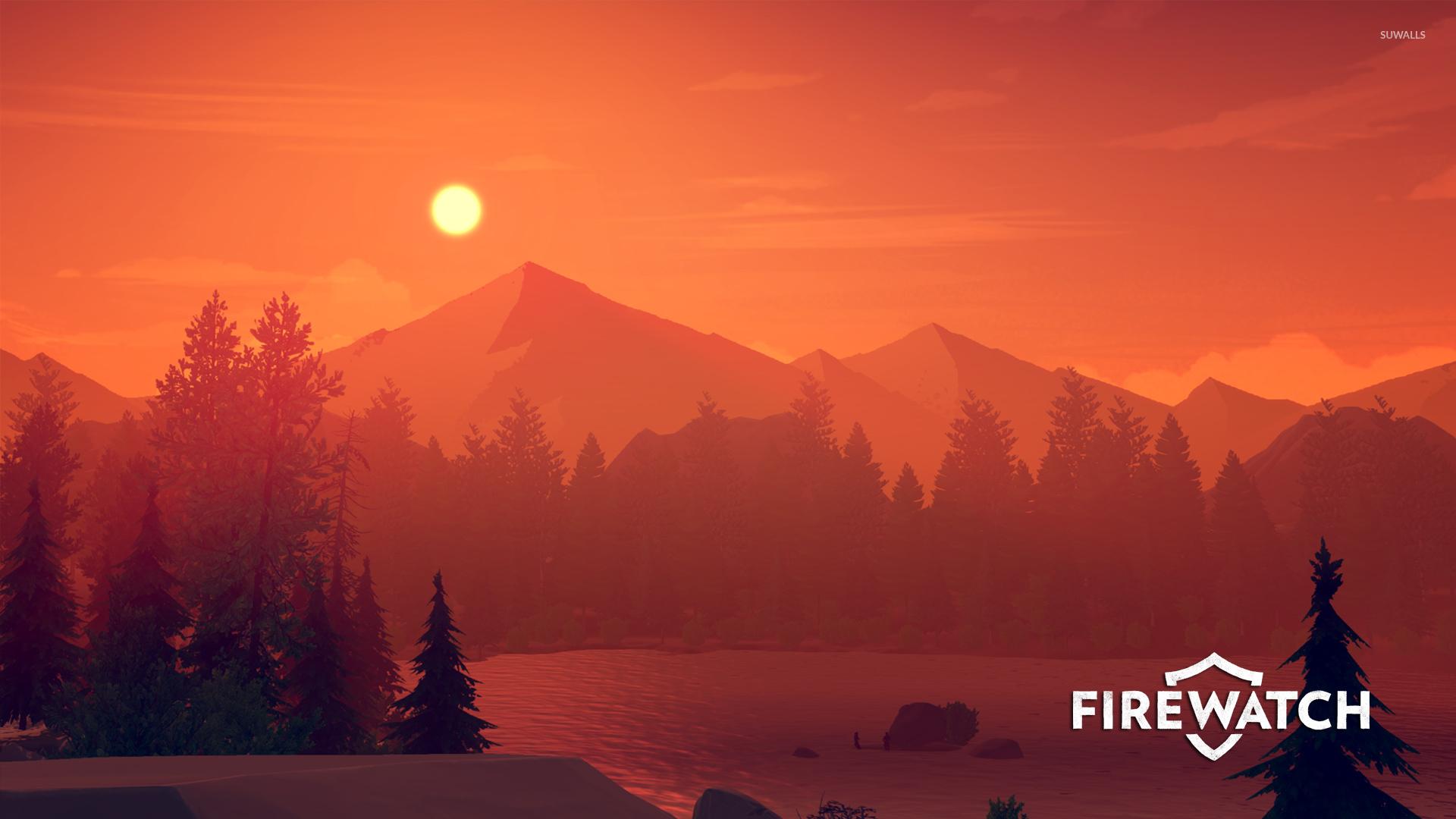 Orange sunset over the lake Firewatch wallpaper Game