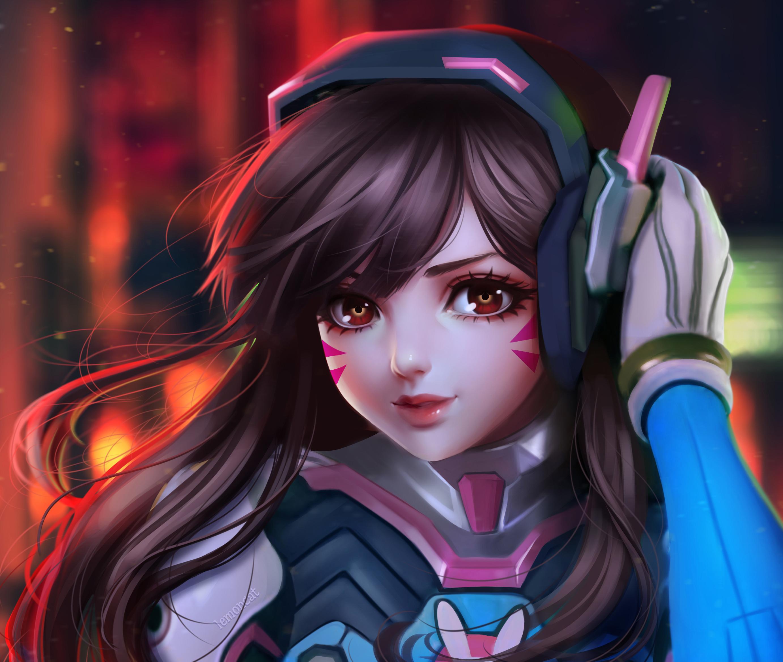 Game dva overwatch cute artwork Silk Poster Wallpaper 24 X 13 inch
