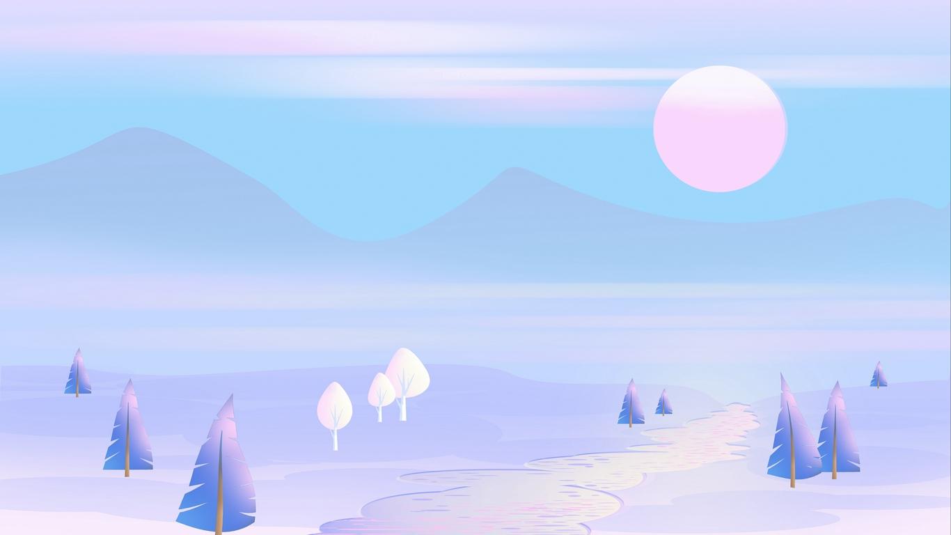 Download wallpaper 1366x768 sun mountains vector art