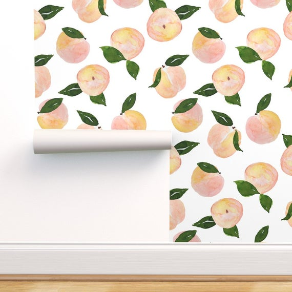 Fruit Wallpaper Peaches By Shopcabin Watercolor Farmhouse Decor Custom Printed Removable Self Adhesive Wallpaper Roll by Spoonflower