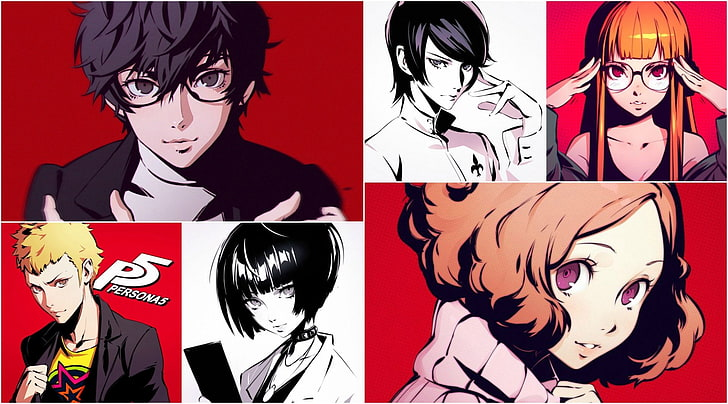 Persona 5 Akira Kurusu Ann Takamaki Futaba Silk Poster//Wallpaper 24 X 13 inches