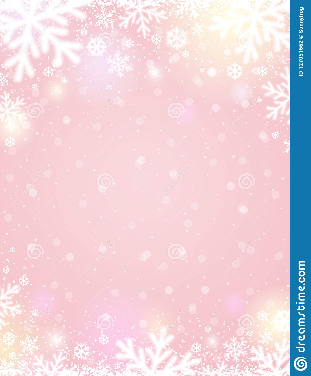 Pink Christmas Background With White Blurred Snowflakes