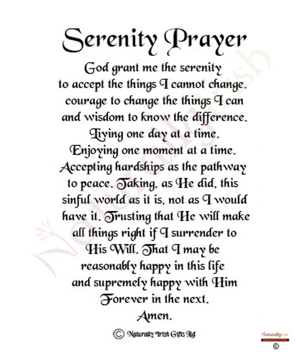 It's just a photo of Printable Serenity Prayer inside short