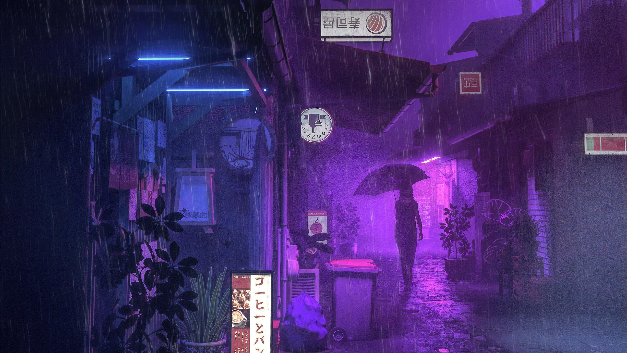 Village Street Neon Girl Umbrella HD Anime 4k Wallpapers