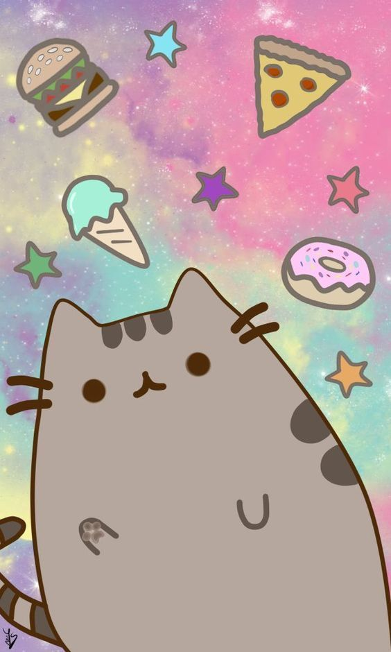 Food universe Pusheen cat Pusheen cute Kawaii wallpaper