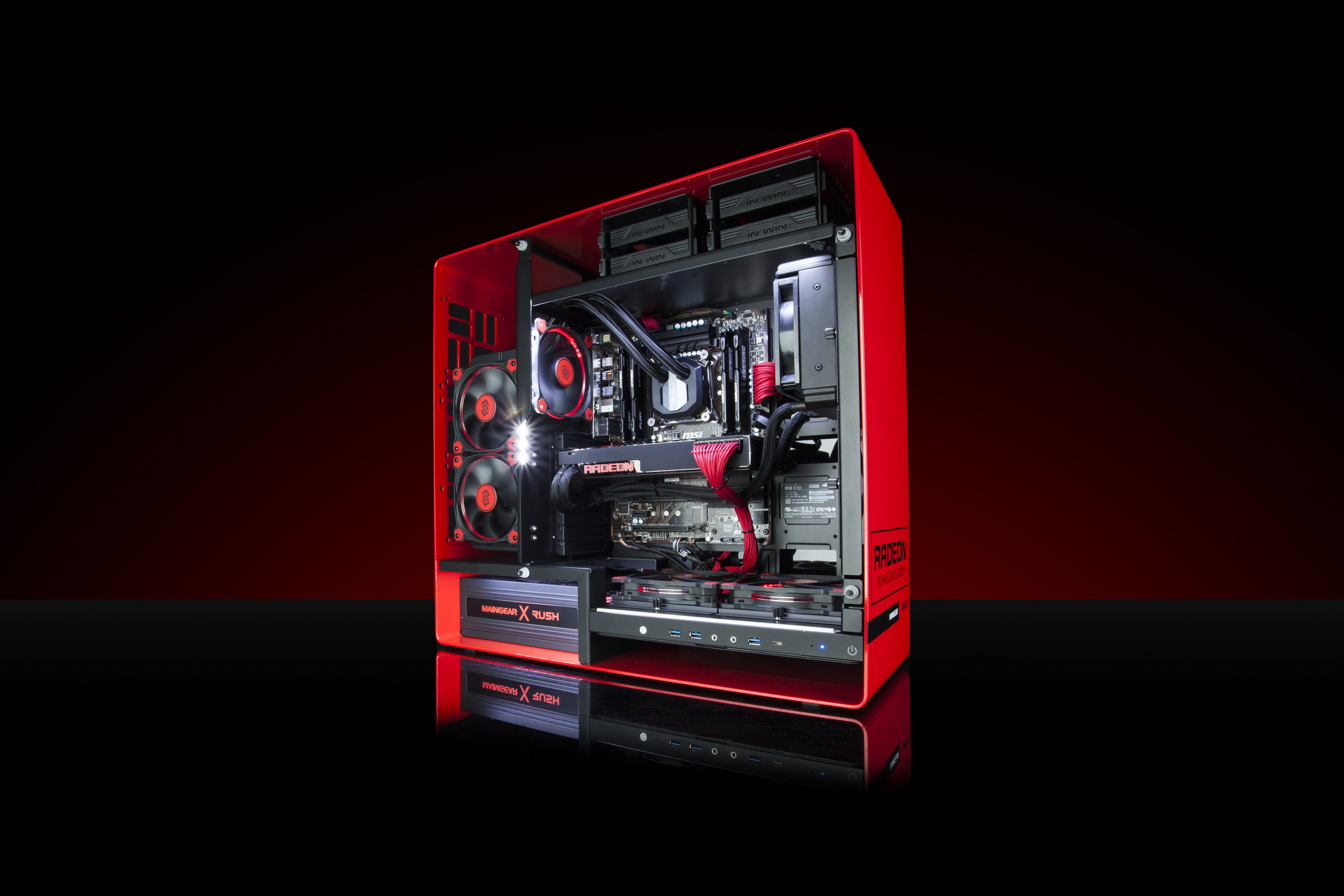 Red and black computer tower computer technology PC