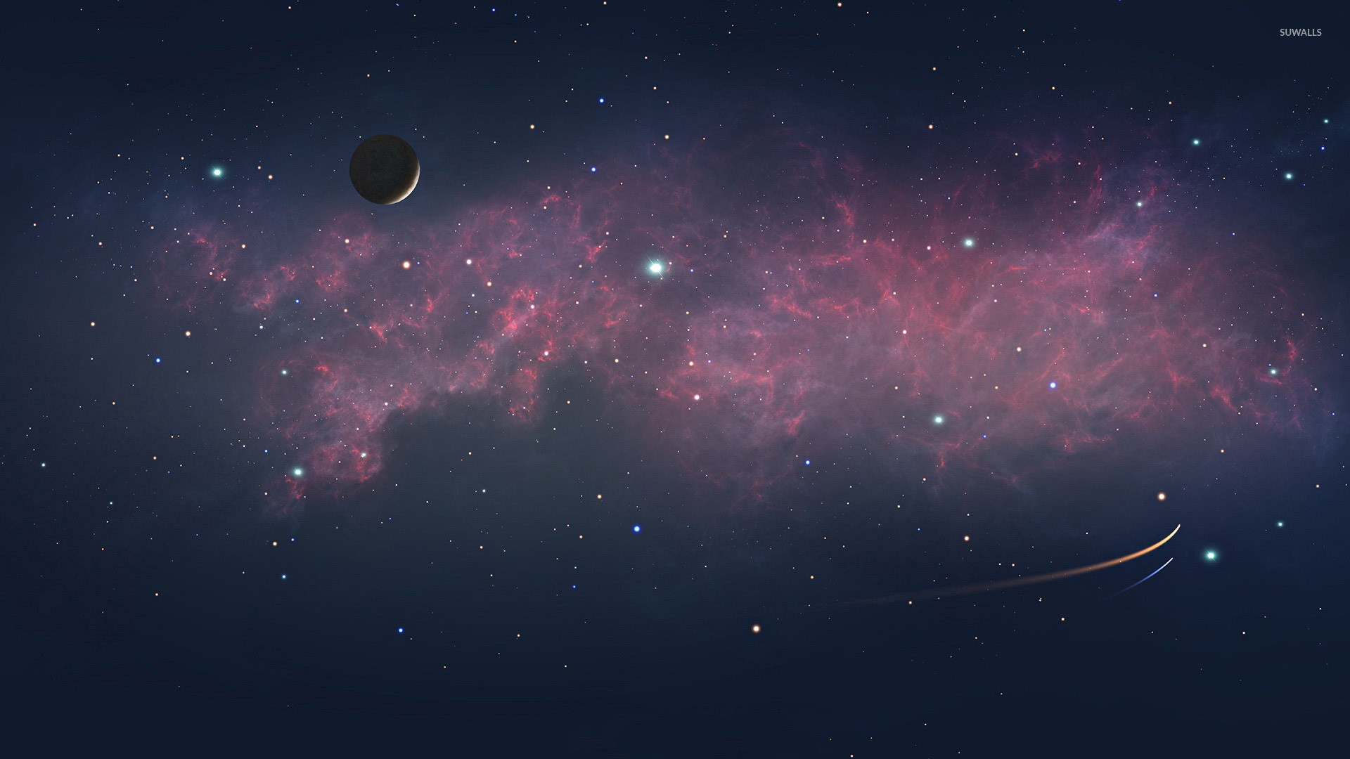 Red And Blue Galaxy Background Posted By John Peltier