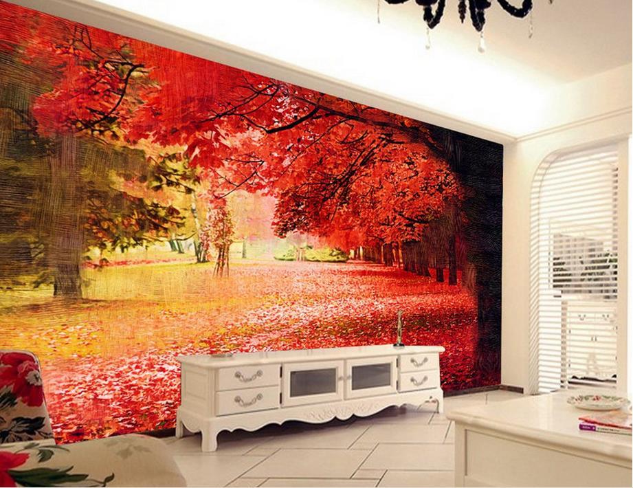 custom 3d photo wallpapers Red trees landscape 3d wallpaper