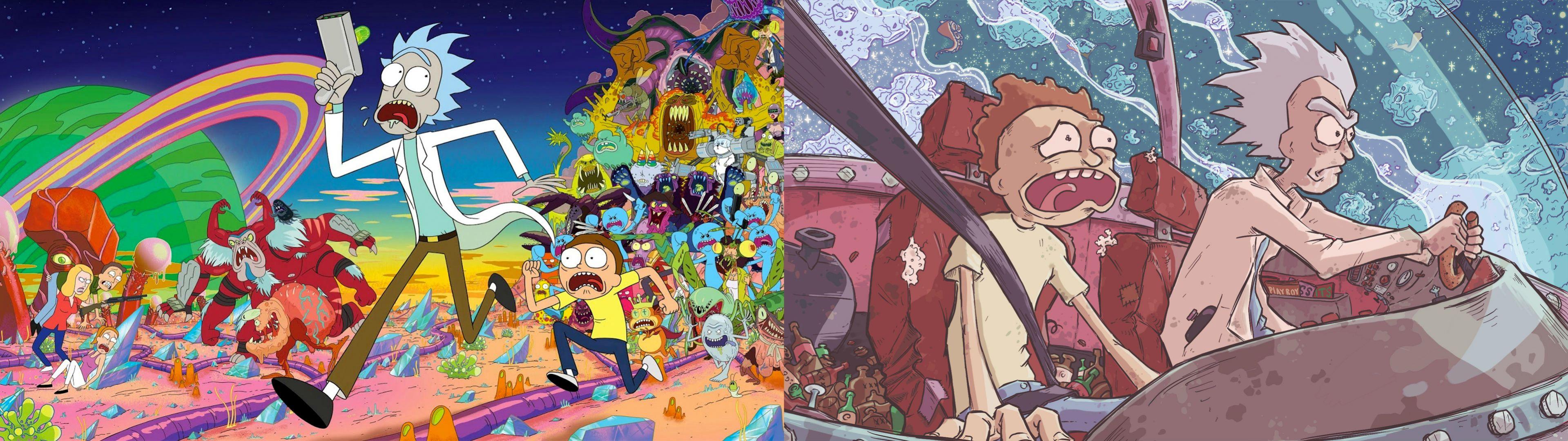 Rick And Morty Dual Screen Wallpaper