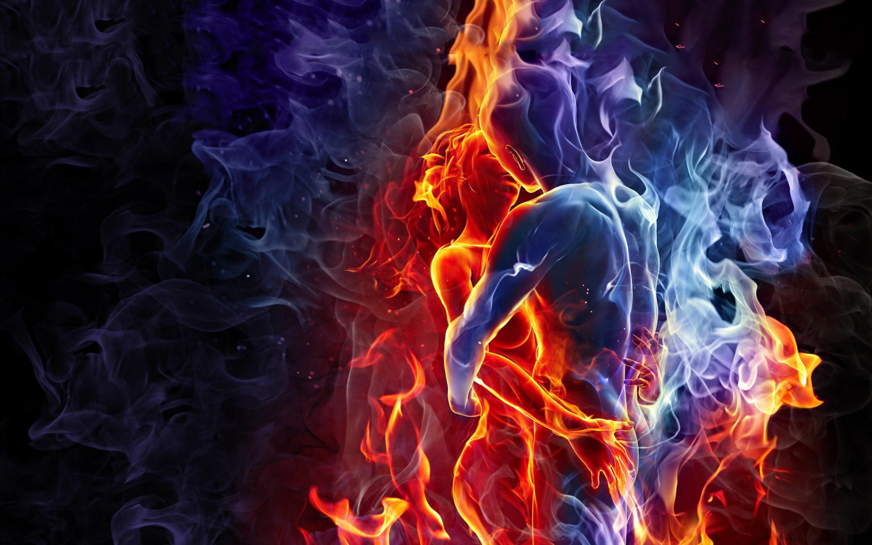 Fire And Ice 3d Romantic Couple In Love Wallpaper Burning
