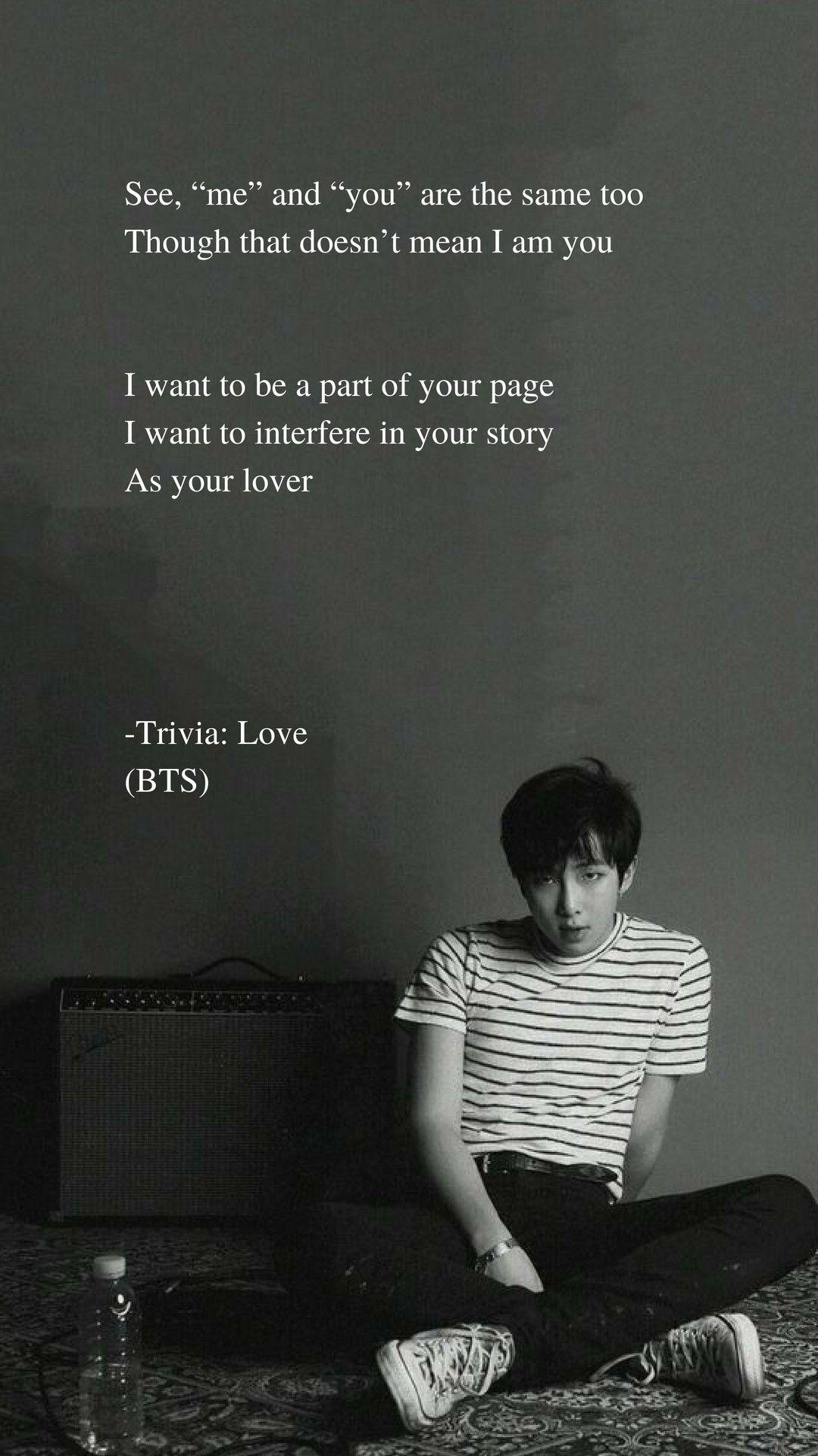 Trivia Love by BTS RM Lyrics wallpaper in 2019 Bts lyric