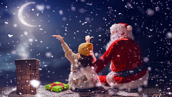 HD wallpaper snowing, winter, christmas, santa claus, child