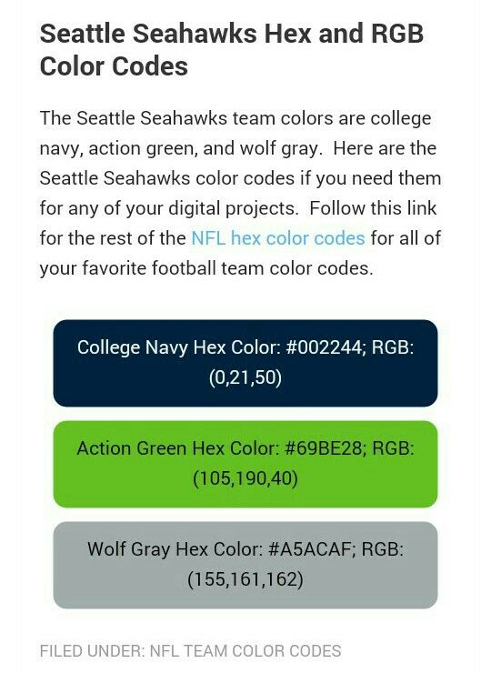 Seahawks Color Code Posted By Michelle Mercado