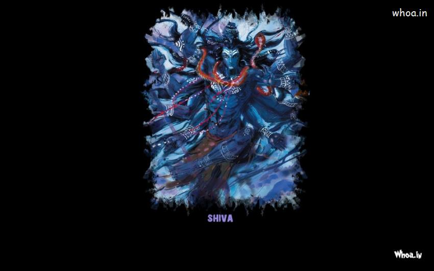 Lord Shiva Angry Blue Painting With Dark Background HD Wallpaper