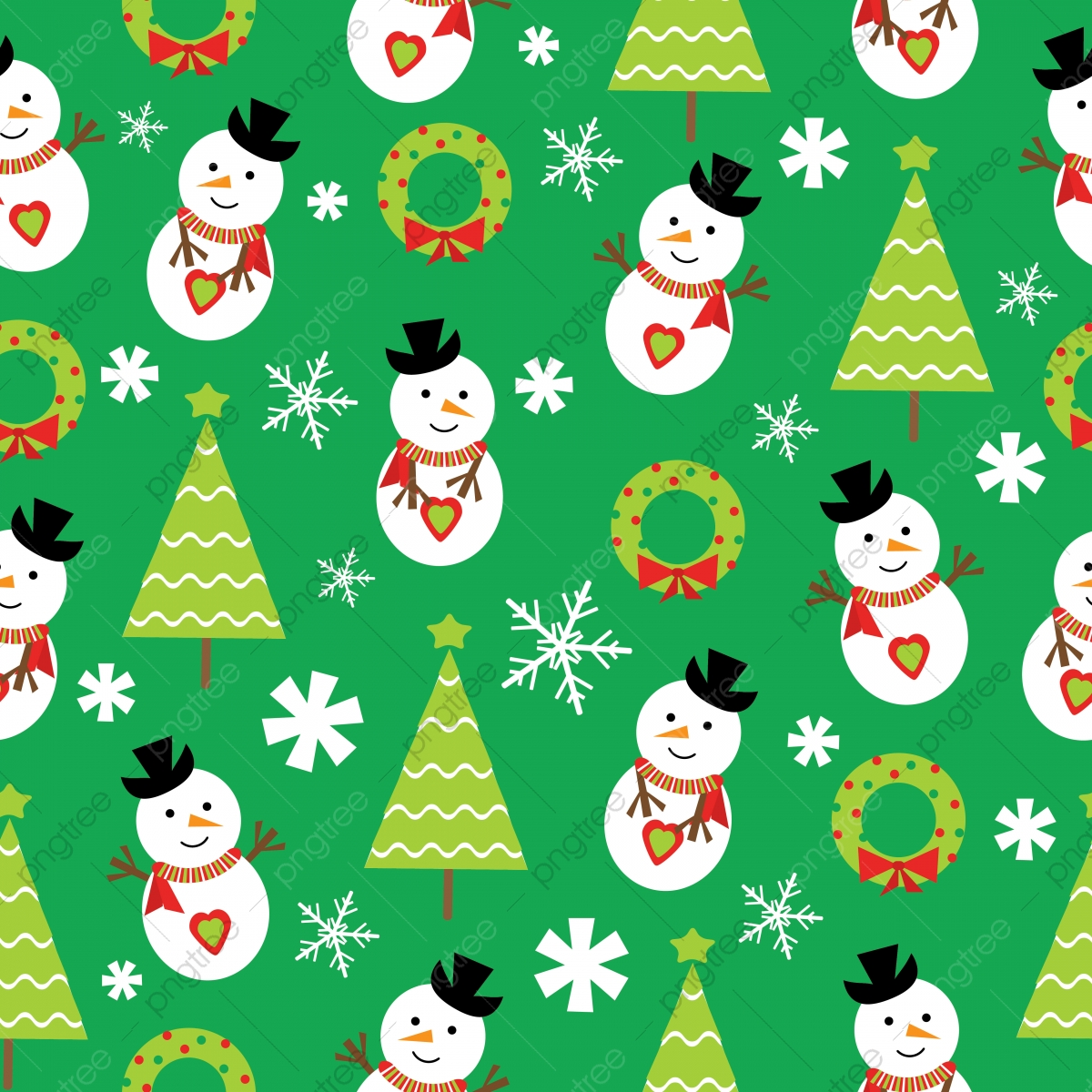 Seamless Background Of Cute Snowman And Xmas Tree On Green