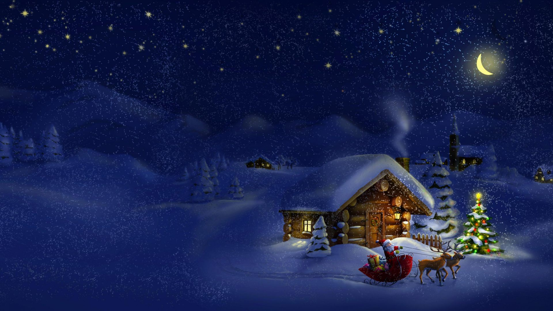 XiNature.com Eve Winter Snow Merry Magic Evening Santa