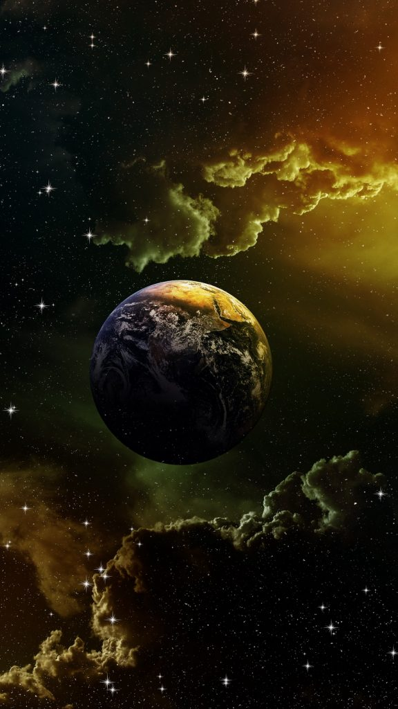 Planet, stars, galaxy, space wallpaper, background iphone