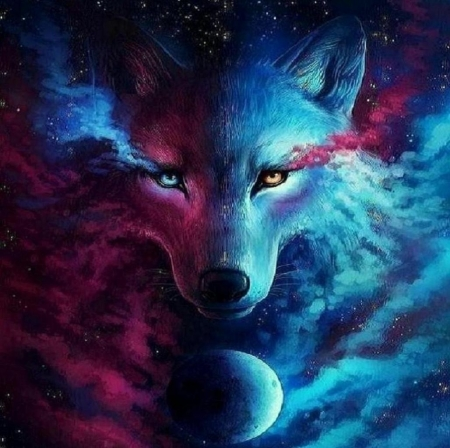mystical spirit wolf. 3D and CG and Abstract Background