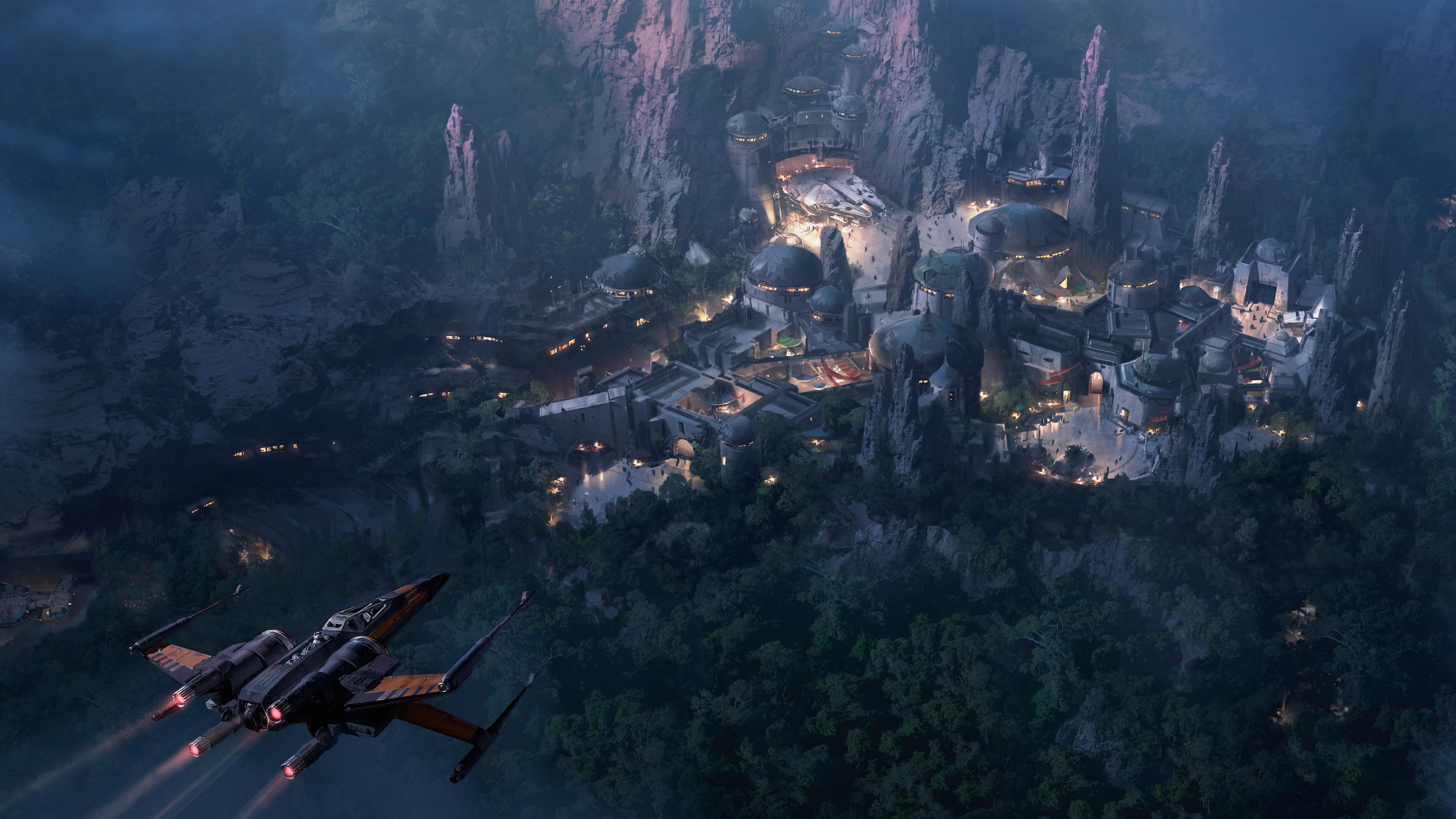 Wallpaper 4k Star Wars Land At Night Concept Art 4k 5k