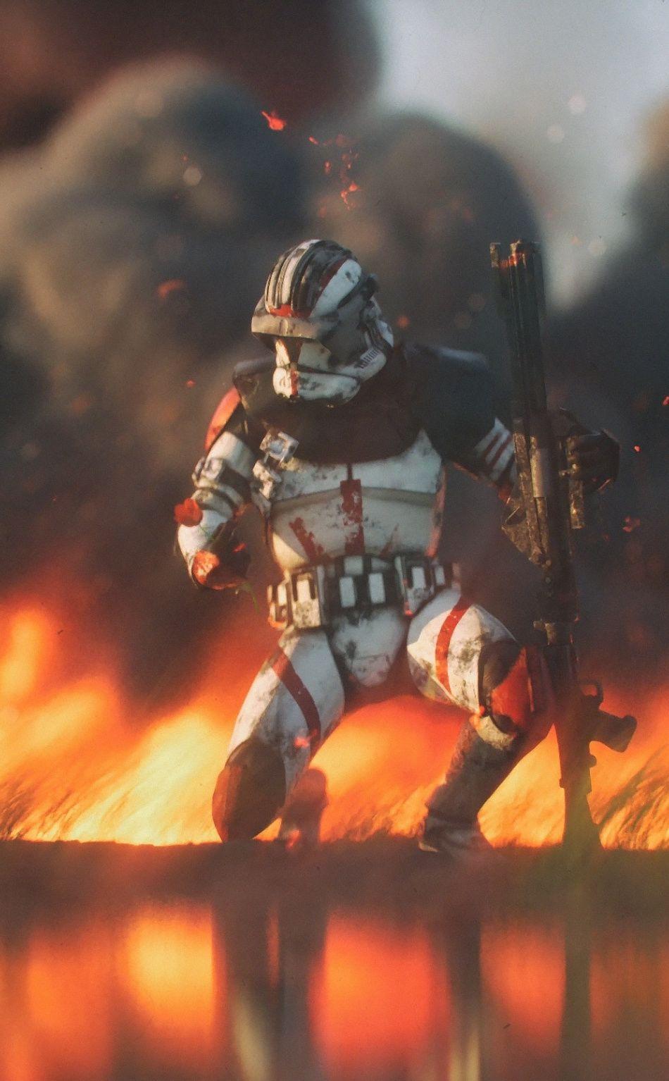 Clone trooper, Star Wars, fire, 950x1534 wallpaper Star