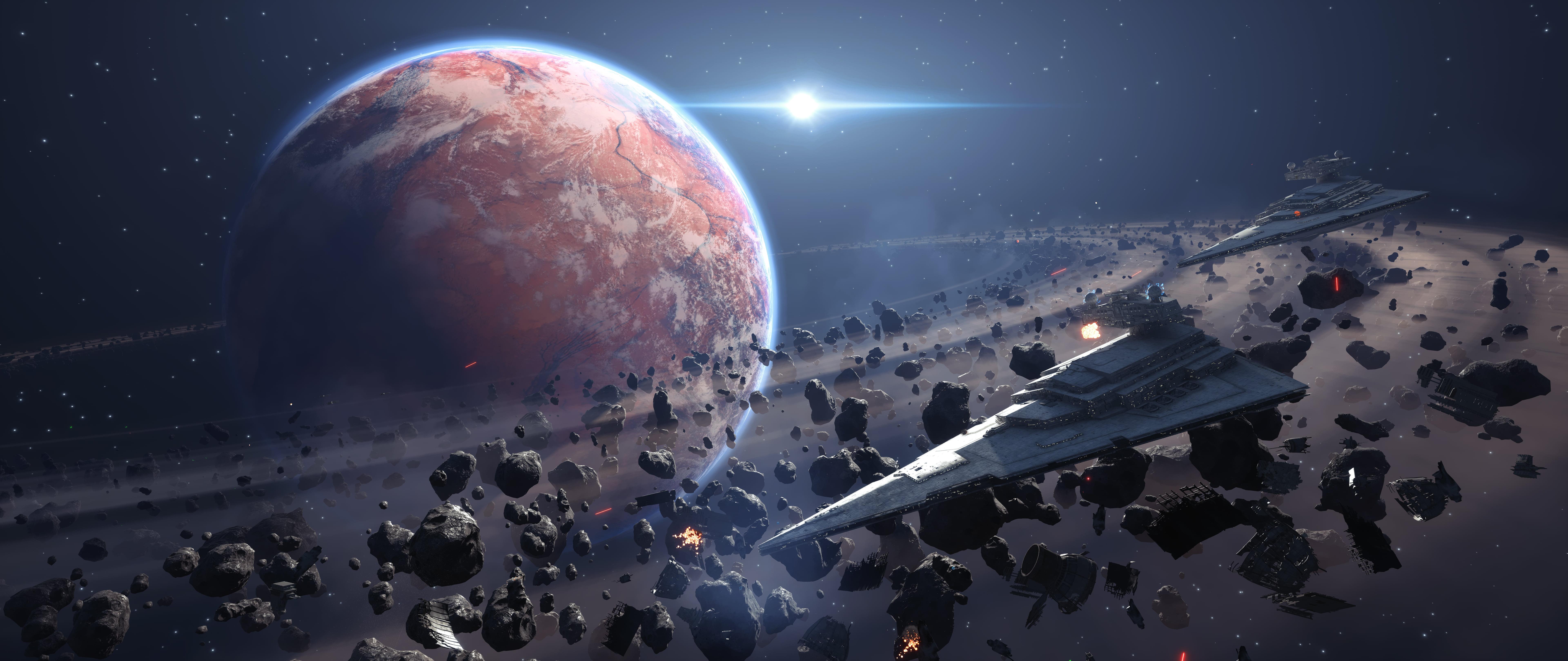 Saturn planet illustration, Star Wars Battlefront, Star