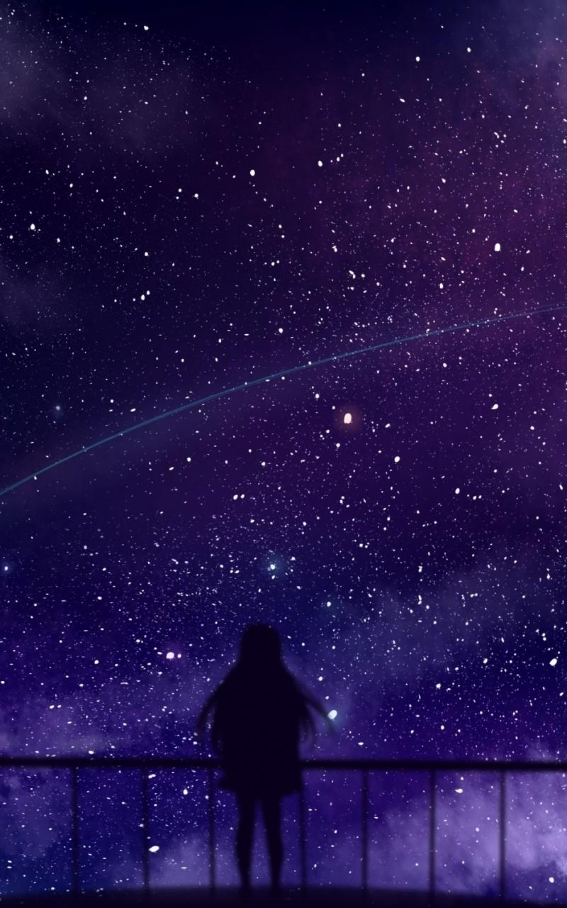 Anime Girl, Silhouette, Stars, Falling Star, Clouds Girl