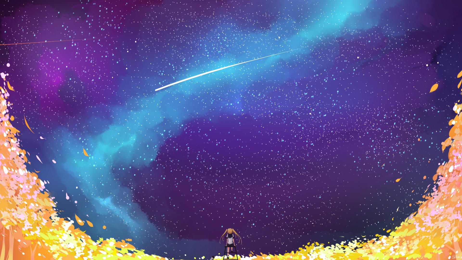 Wallpaper anime, galaxy, shooting stars, railway crossing