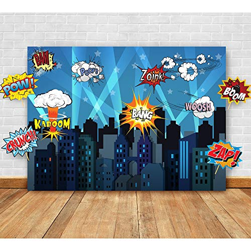 Yeele-Superhero-Background 10x8ft Photography Background Super Hero Themed City Glare High-Rise Building Night Photo Backdrops Pictures Studio Props Wallpaper