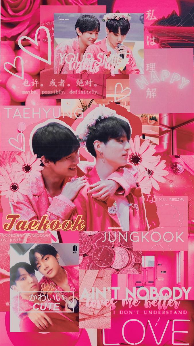 Taekook Pink Aesthetic Lockscreen Wallpaper by jcydric on