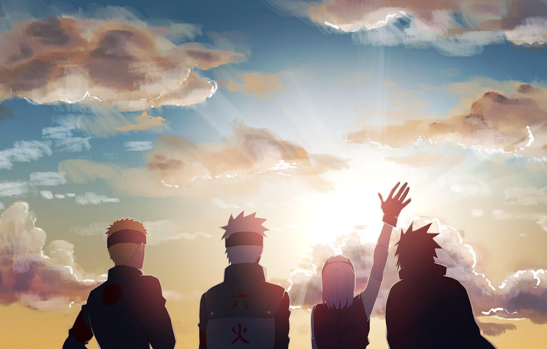 Wallpaper the sun, dawn, morning, Naruto, team 7, Uchiha