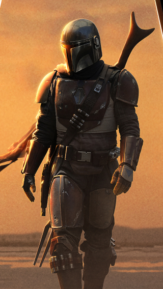 320x568 4k Poster Of The Mandalorian 320x568 Resolution