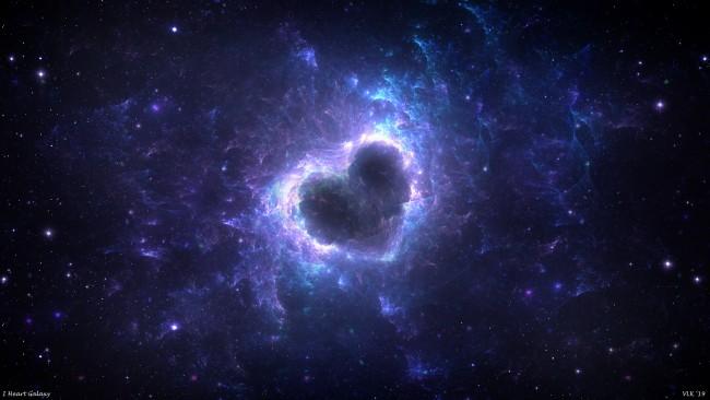 Wallpaper Blue Nebula Heart Shape Galaxy Universe Stars