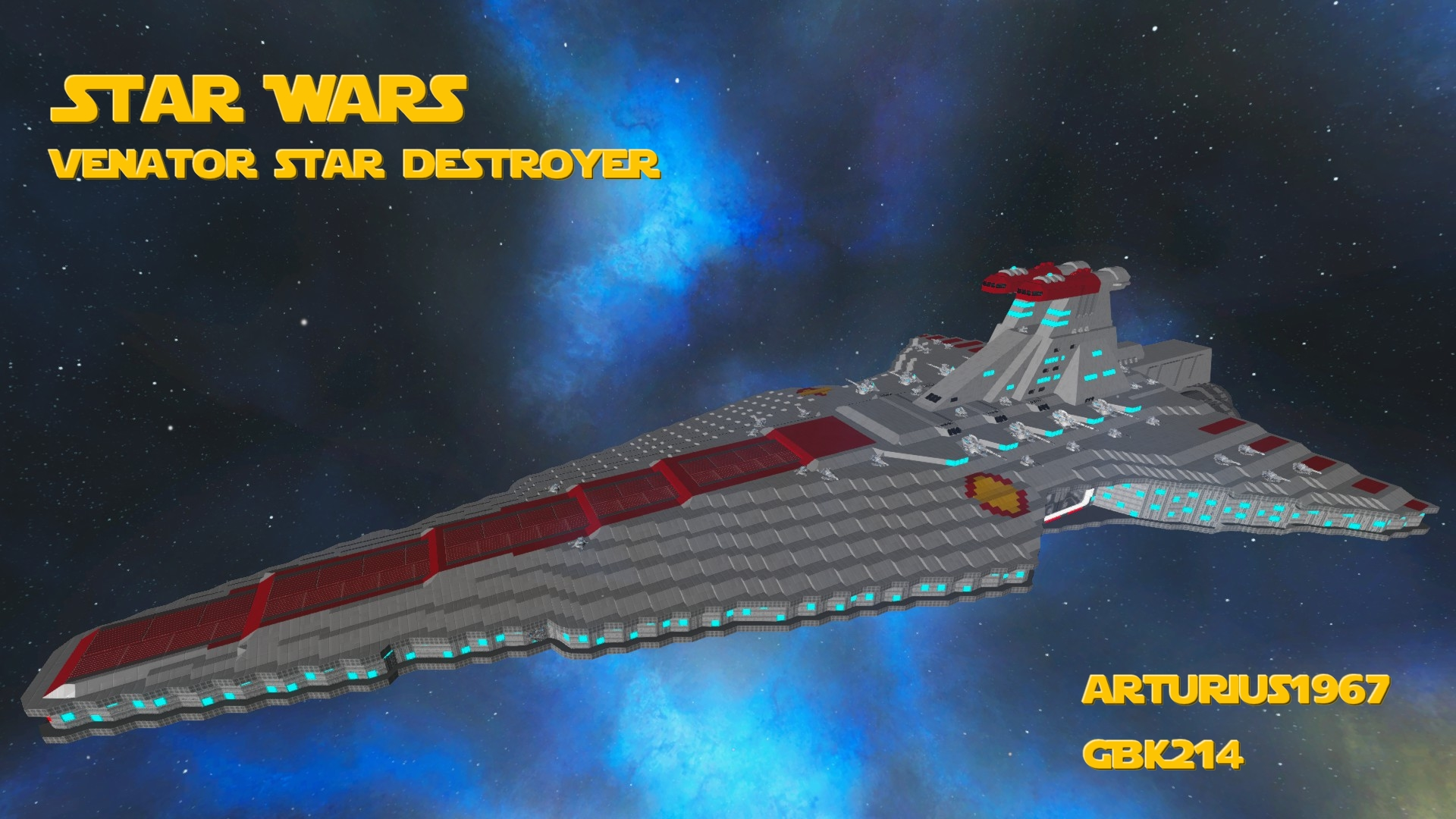 Star Wars Venator Class Destroyer and its support vessels