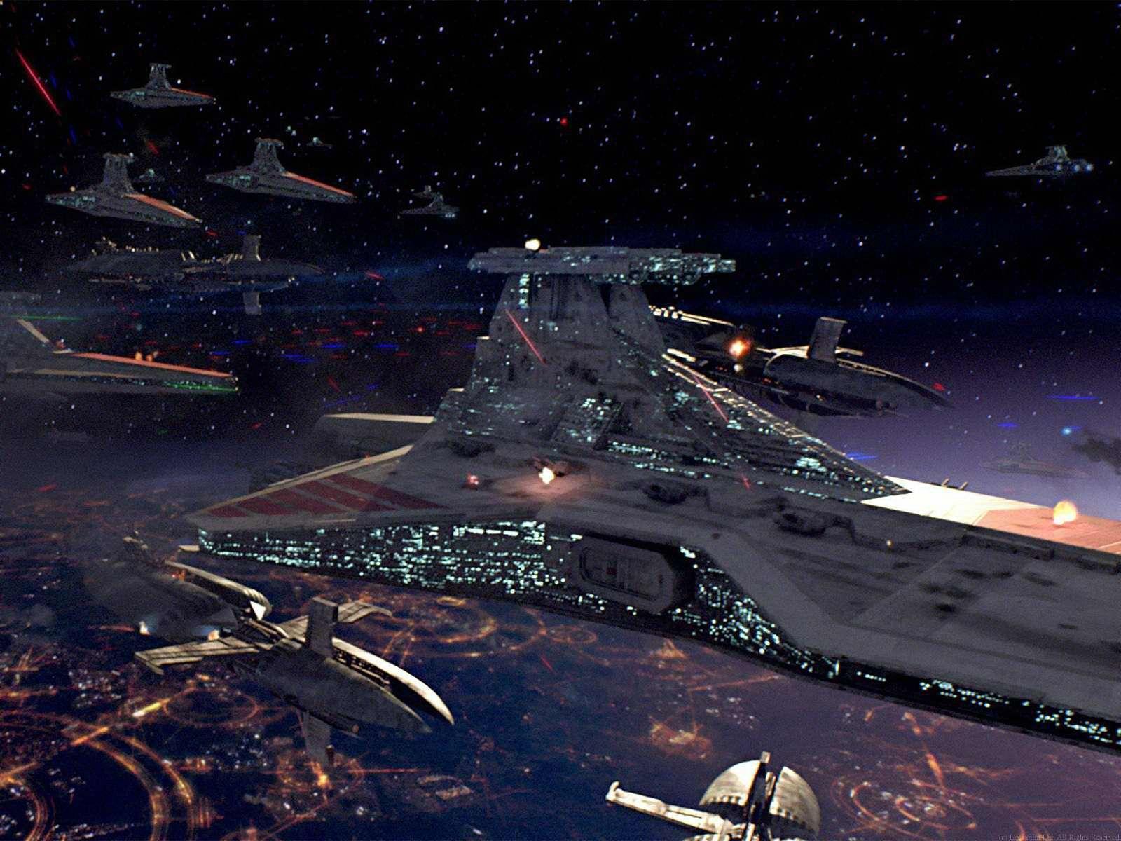 Venator class ship over Coruscant Star wars spaceships