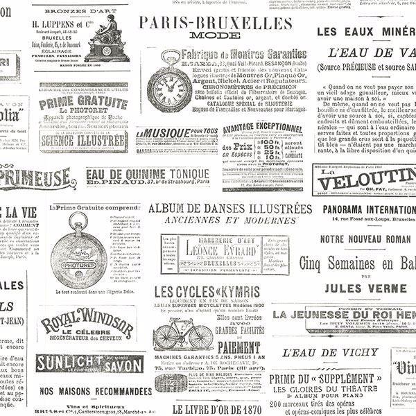 White Black Newspaper Print Gazette Wallpaper Paste Wall Vintage Fine Decor