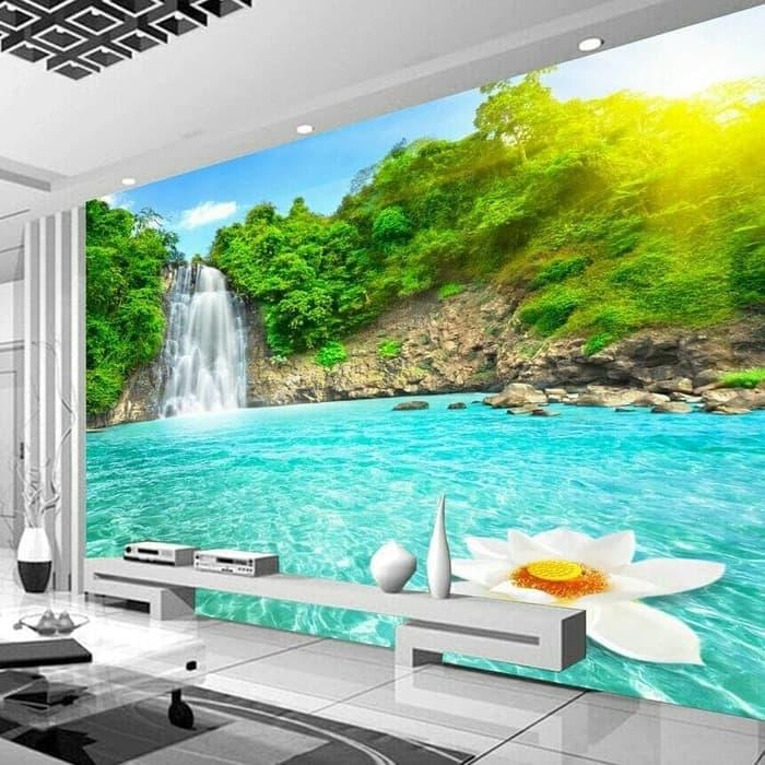 Jual Wallpaper Dinding Custom 3D 3 D 3 Dimensi Pemandangan Alam Air Terjun Kota Pekalongan Skincare Dokter Jogja Tokopedia