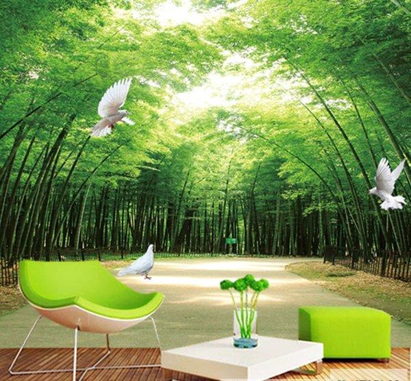 Jual Wallpaper Wall paper DInding Custom 3D 3 D 3 Dimensi Pemandangan Alam Motif Bambu Bamboo 1 di lapak Pusat Sticker Murah skincaredokterjogja