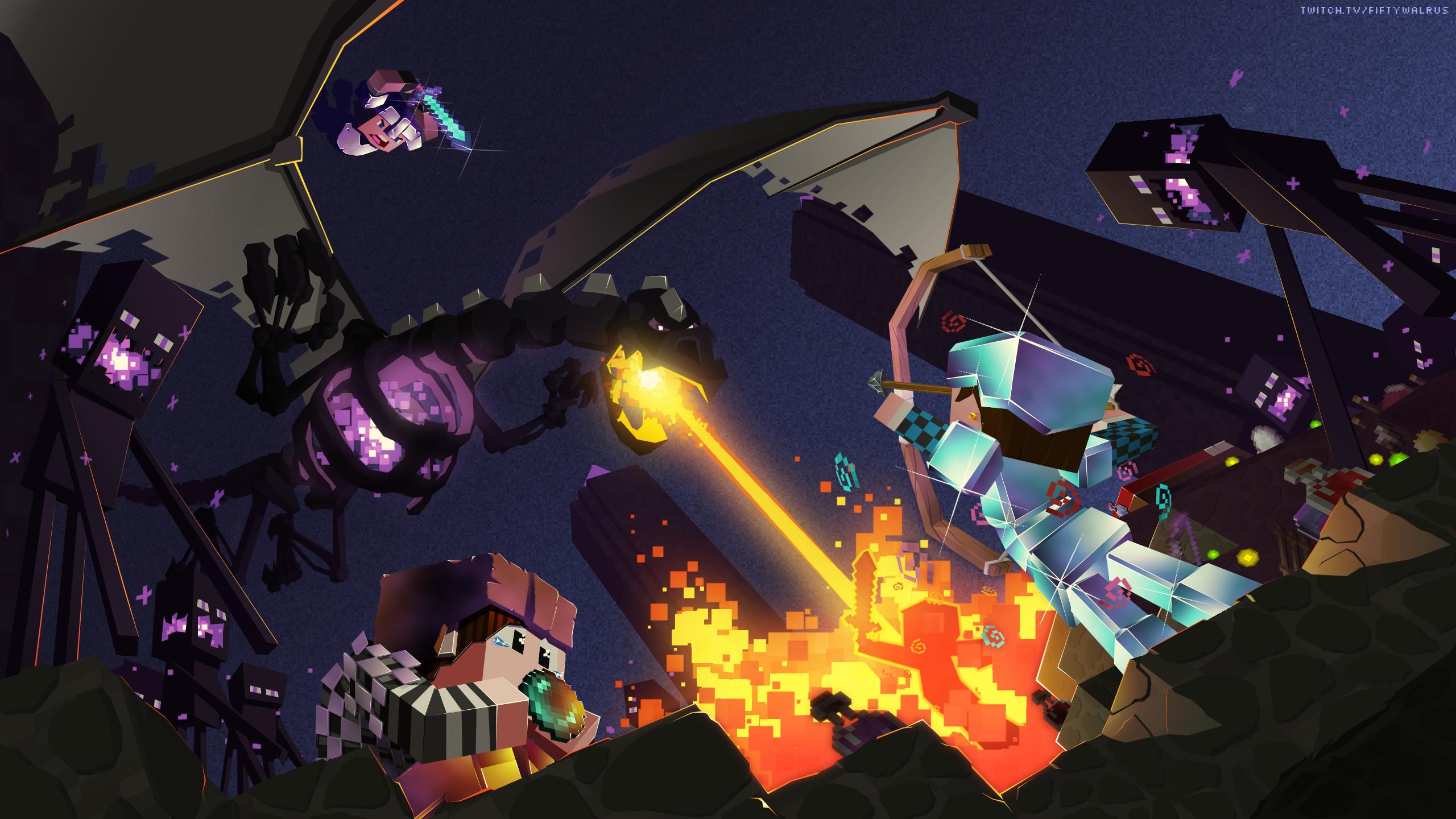 Minecraft Widescreen Wallpaper Minecraft Ender Dragon